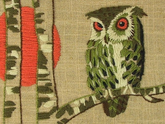 Crewel Embroidered Owl with Full Moon in Orange and Olive Vintage 1970's