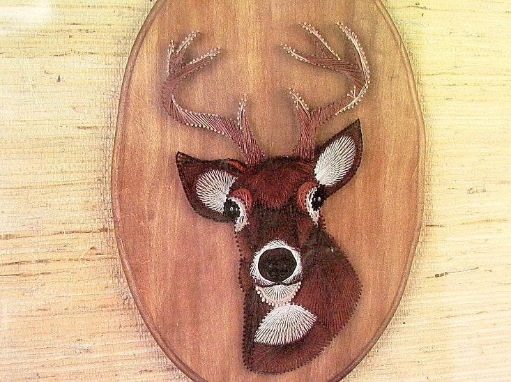 Reserved diy string art kit vintage 1970s deer nib for Fish string art