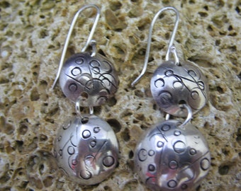 Fun Funky Circle Earrings with hand stamped designs