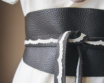 Romantic Lace - Handmade Dark Brown Italian Leather Obi Belt with Vintage Ivory Lace