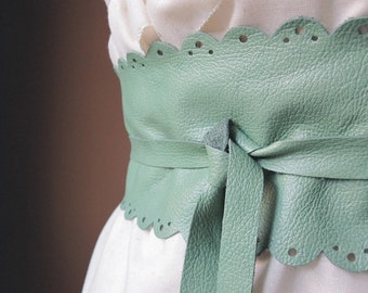 My favourite - Handmade Cut Out Mint / Seafoam Italian Leather Obi Belt - Made to Order