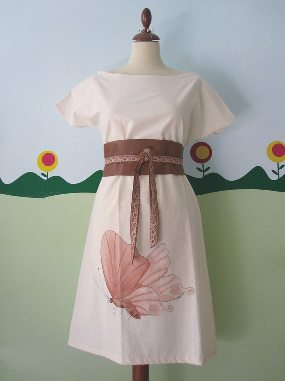 Tan / Caramel Brown Leather Obi Belt with Vintage Pink Lace