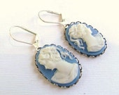 Handmade Cornflower Blue and White Lady Cameo Earrings