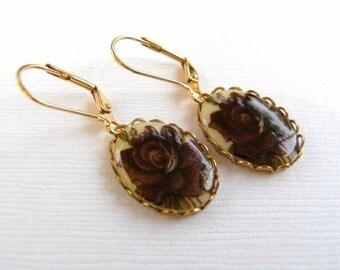 Handmade Vintage Cameo Dark Burgandy Rose Earrings