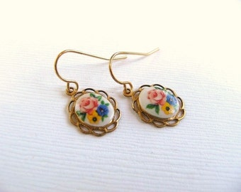 Handmade Teeny Tiny Floral Bouquet Earrings