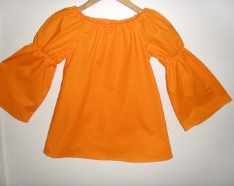orange peasant tunic top, long sleeve (available in sizes   2t,3t,4t,5t,6,7,8,  child's top)