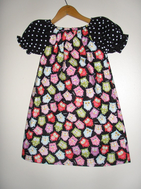 Owls Peasant tunic dresss short sleeve  polka dot (size 5 or 6)