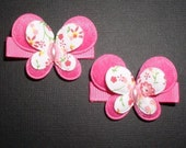 Hot Pink with Butterfly Appliques Hair Clippies (Set of 2)
