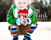 Crawler Covers Baby Leg Warmers---Blue. Red and Green Rugby Striped