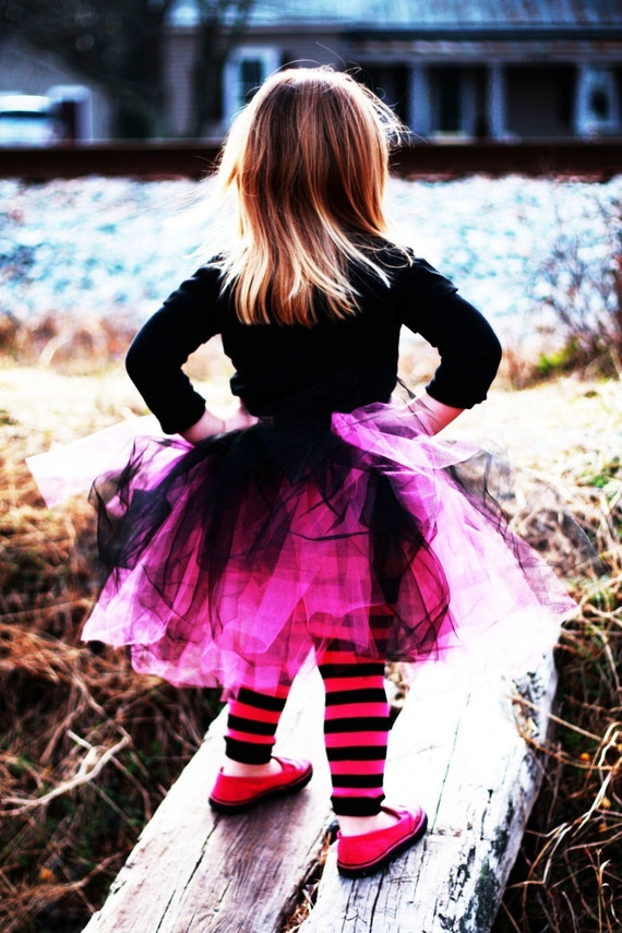 Crawler Covers Baby Toddler Leg Warmers---Black and Hot Pink Thick Striped---ALWAYS SHIPS WITHIN 24 HOURS OR LESS