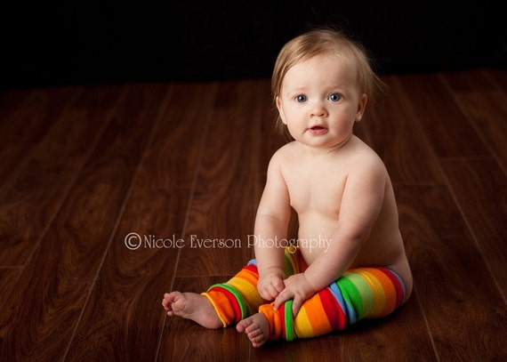 Crawler Covers Baby Leg Warmers--Blue with Rainbow Rugby Stripes--Always Ships Within 24 Hours OR LESS