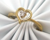 Petite Heart Outline With Tiny Clear Stone R1405