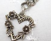 Vintage Sterling Charm Bracelet Flower Heart B1813