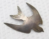 RESERVED Vintage Sterling Brooch Swallow Bird Pin Signed F. Ramone P2077