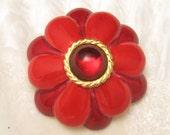 Vintage Brooch Rich Red Flower Pin Robert P3217