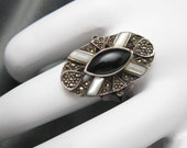 Large Sterling Ring Marcasite Onyx MOP R3451