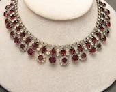 Red Rhinestone Necklace Vintage Kramer N3898