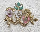 Vintage Heart Brooch Rhinestone Jewelry Enamel Flowers P4037