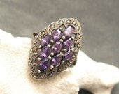 Sterling Marcasite Ring Purple Large Size 9 1/2 R4328
