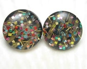 Large Lucite Confetti  Earrings Glitter Vintage Jewelry E4559