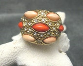 Wide Rhinestone Faux Coral Ring Band R4572