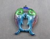 Sterling Pisces Fish Pendant Vintage Enamel Jewelry  C371