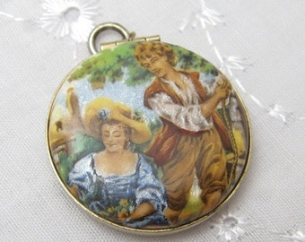 Vintage Locket Guilloche Enamel Jewelry Mid Century Pictures Inside C1551
