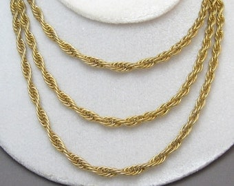 Long Heavy Rope Chain Necklace Bib Vintage Jewelry N2036