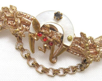 Victorian Lizard Brooch Horseshoe Good Luck Jewelry P2364