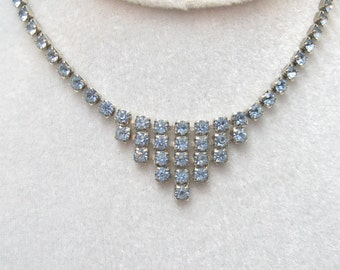 Baby Blue Rhinestone Necklace Mini Fringed N2626