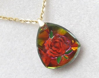 Vintage Rose Necklace Glass Intaglio Red Pendant N3028