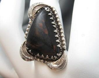 Vintage Sterling Ring Boho Southwestern Brown Large R3502