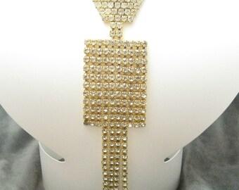 Vintage Long Rhinestone Tie Pendant Necklace Jewelry N3750