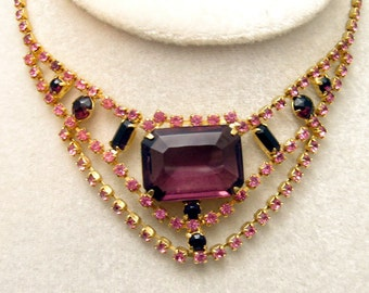 Rhinestone Necklace Pink Purple Vintage Bib Jewelry N3932
