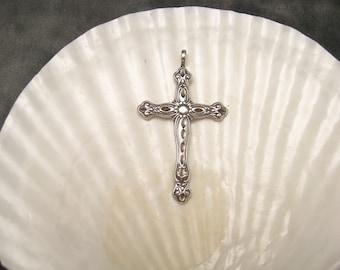 Large Sterling Cross Ornate Pendant Shube Jewelry C4116