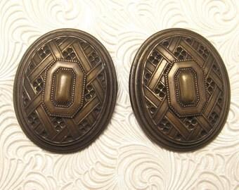 Vintage Earrings Huge Oval M Baer E4175