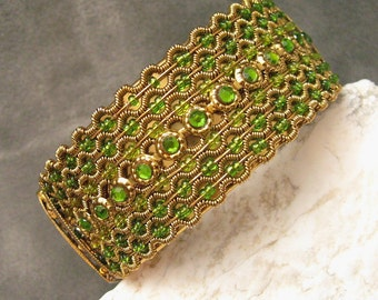 Wide Clamper Bracelet Hinged Bangle Green Beaded Vintage Jewelry B4566