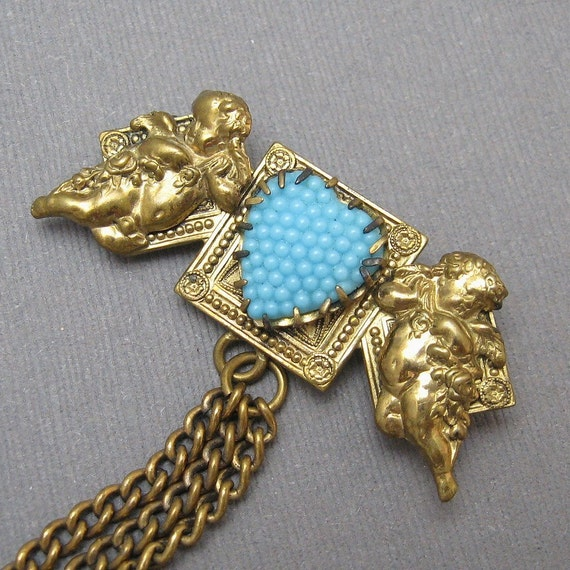 Vintage Brooch Chatelaine Pin Brass Cupid  Heart P1903