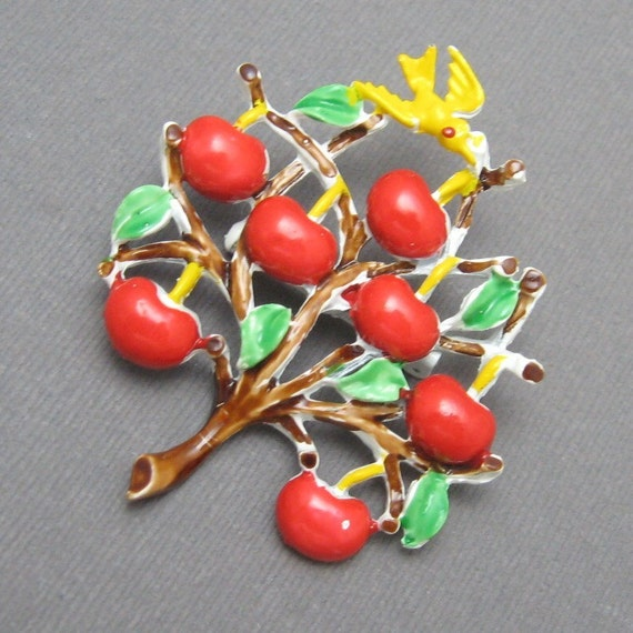 Vintage Pin Apple Tree Bird Cheery Enamel P1916