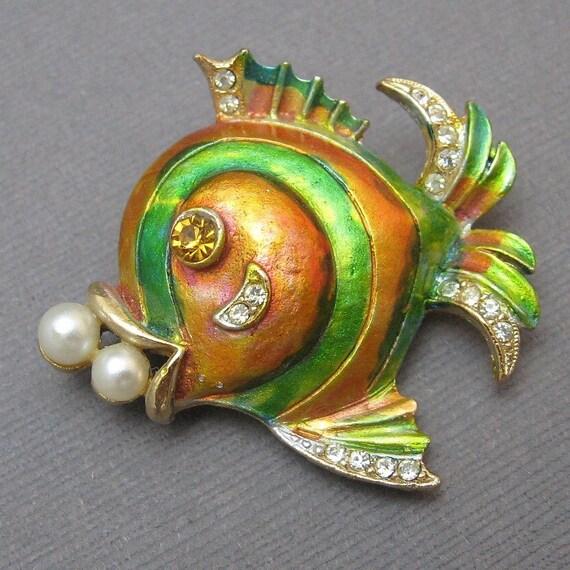 Vintage Fish Brooch Colorful Enamel Rhinestone  P2014