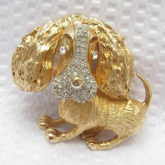 Rhinestone Dog Pin Chunky Whimsical Vintage Jewelry P2134