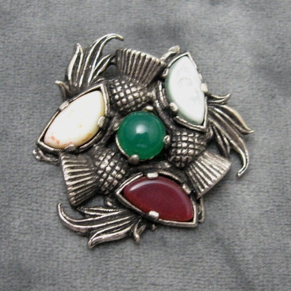 Vintage Thistle Pin Gemstones Scotland P2170