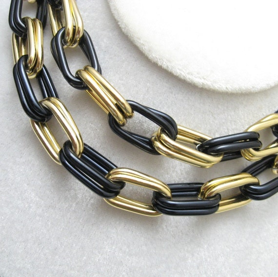 Vintage Chain Necklace Chunky Black Jewelry N2235