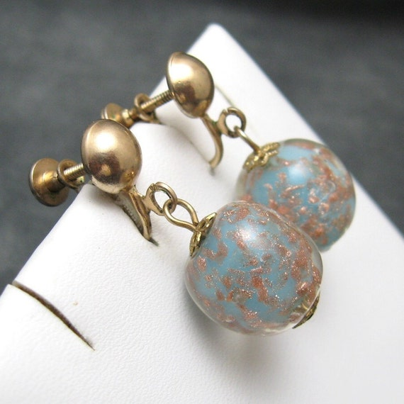 Vintage Earrings Art Glass CopperTurquoise E2375
