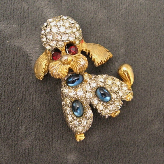 Rhinestone Poodle Dog Pin by Pell P2718