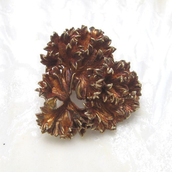 Danish Sterling Leaf Brooch Ruffled Original Box Vintage Jewelry P3024