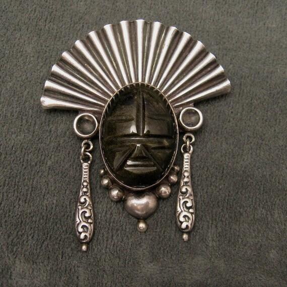 Large Horacio de La Parra Sterling black Brown Tribal Face Pin P3054