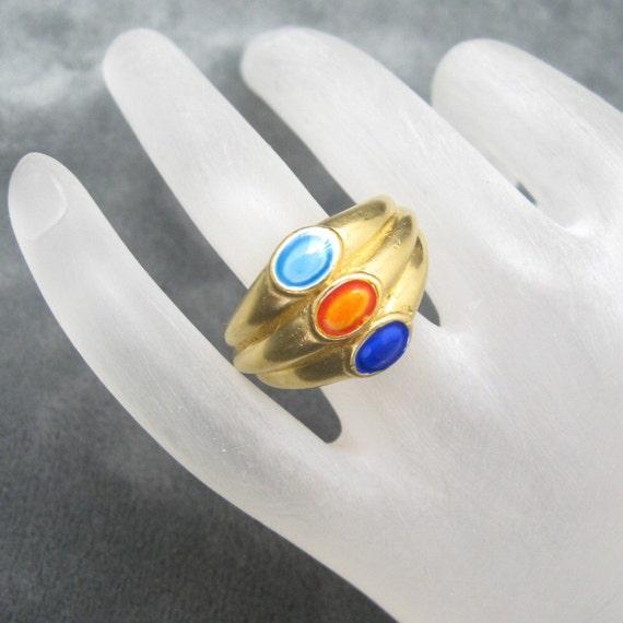 Wide Enamel Ring Trifari Mint Original Tag R3318