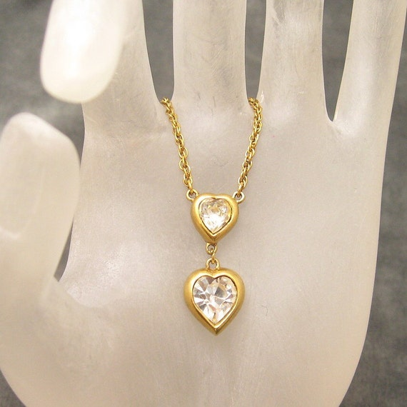 Heart Necklace Tiered Crystal Trifari N3538