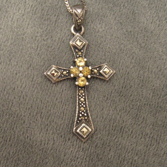 Sterling Marcasite Cross Necklace N3809